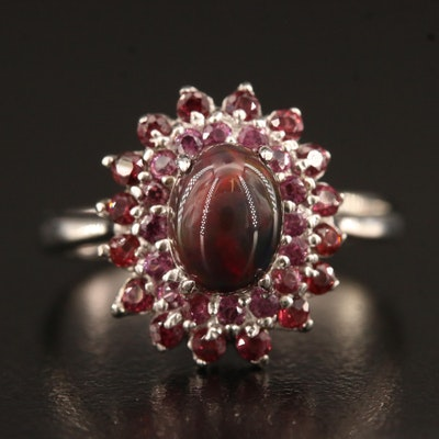Sterling Silver Opal and Garnet Ring