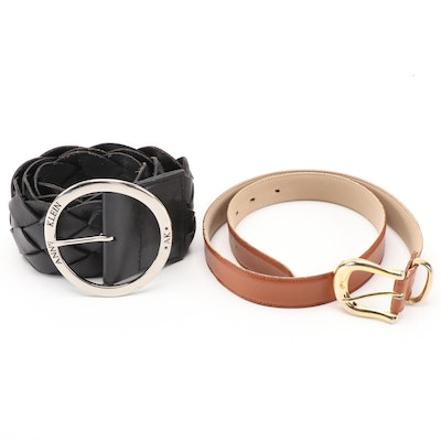 Anne Klein and Capezio Black Woven and Brown Leather Belts