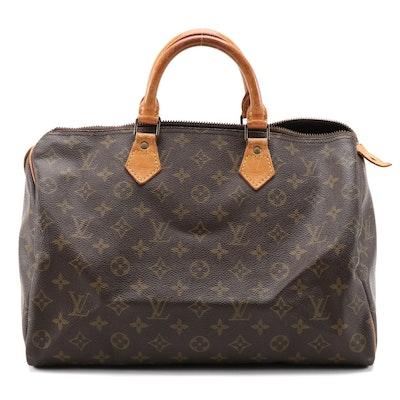 Louis Vuitton Speedy 35 Bag in Monogram Canvas and Vachetta Leather