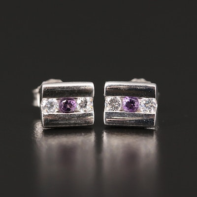 Sterling Silver Amethyst and Cubic Zirconia Stud Earrings