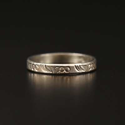Sterling Silver Band with Foliate Pattern