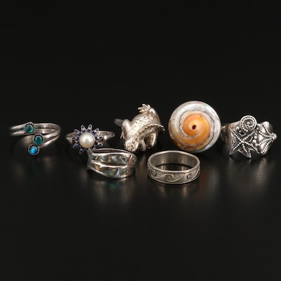 Sterling Selection of Abalone, Shell and Pearl Rings Featuring Sajen
