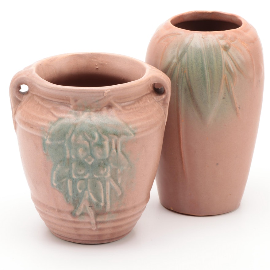 Earthenware Art Pottery Vases and Hanging Planter, Early to Mid 20th Century