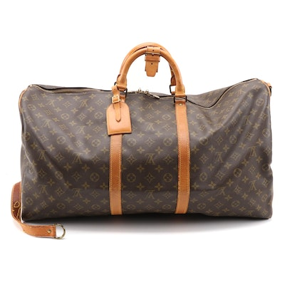 Louis Vuitton Keepall Bandouliere 60 in Monogram Canvas and Vachetta Leather