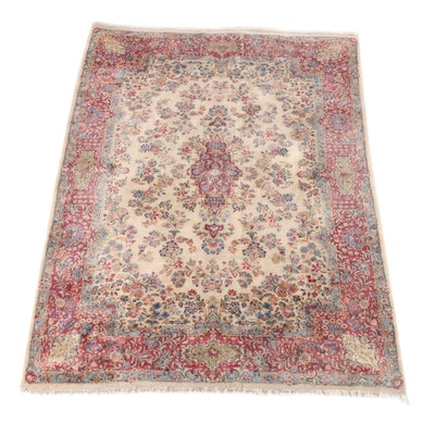 5'11 x 9'0 Hand-Knotted Persian Kerman Wool Long Rug