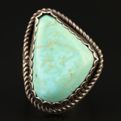 Sterling Turquoise Split Shank Ring with Braid Accent