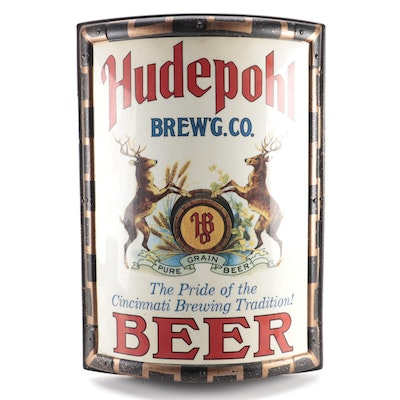 "Hudepohl Beer ""The Pride of the Cincinnati Brewing Tradition"" Wall Sign, 1970s"