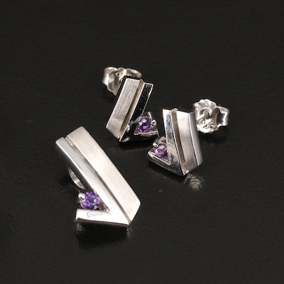 Sterling Silver Amethyst Geometric Earring and Pendant Set
