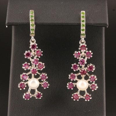 Sterling Silver Pearl, Garnet and Diopside Dangle Earrings