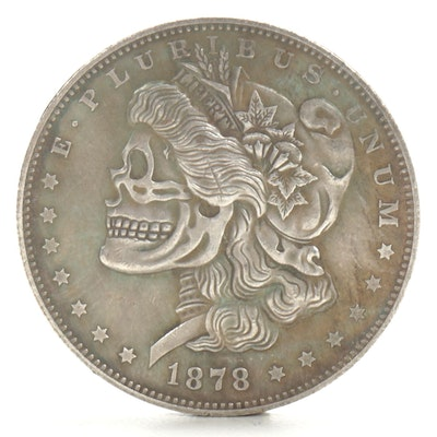 "Novelty ""Skeleton Dollar"" Fantasy Coin Patterned After 1878-CC Morgan Dollar"