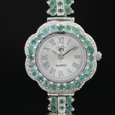 Sterling Silver and Beryl Quartz Wristwatch