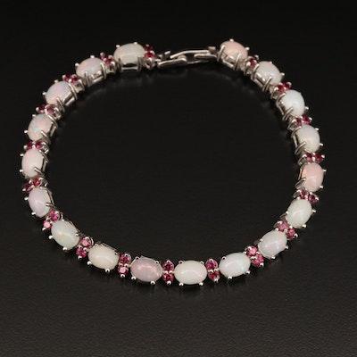 Sterling Silver Opal and Garnet Line Bracelet