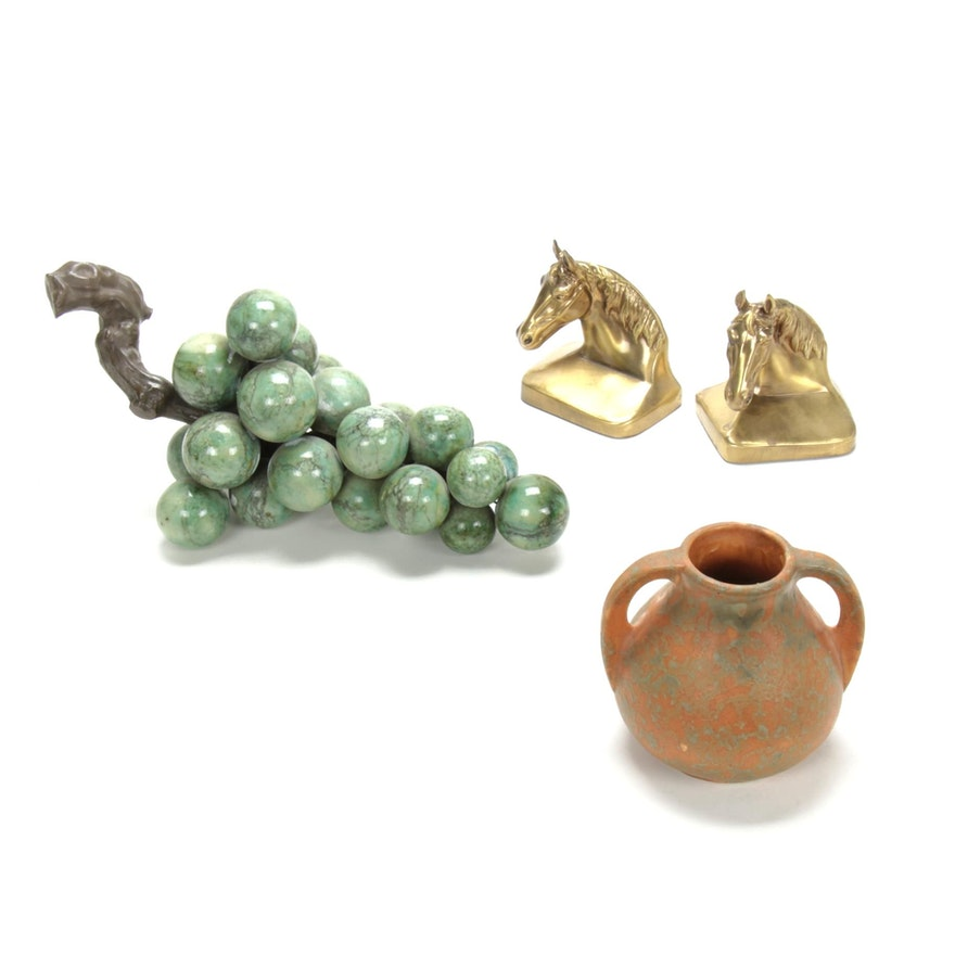 Burley Winter Vase, Brass Bookends, and Stone Grapes