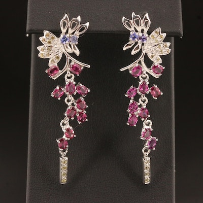 Sterling Silver Garnet, Tanzanite and Citrine Drop Earrings with Foliate Motif