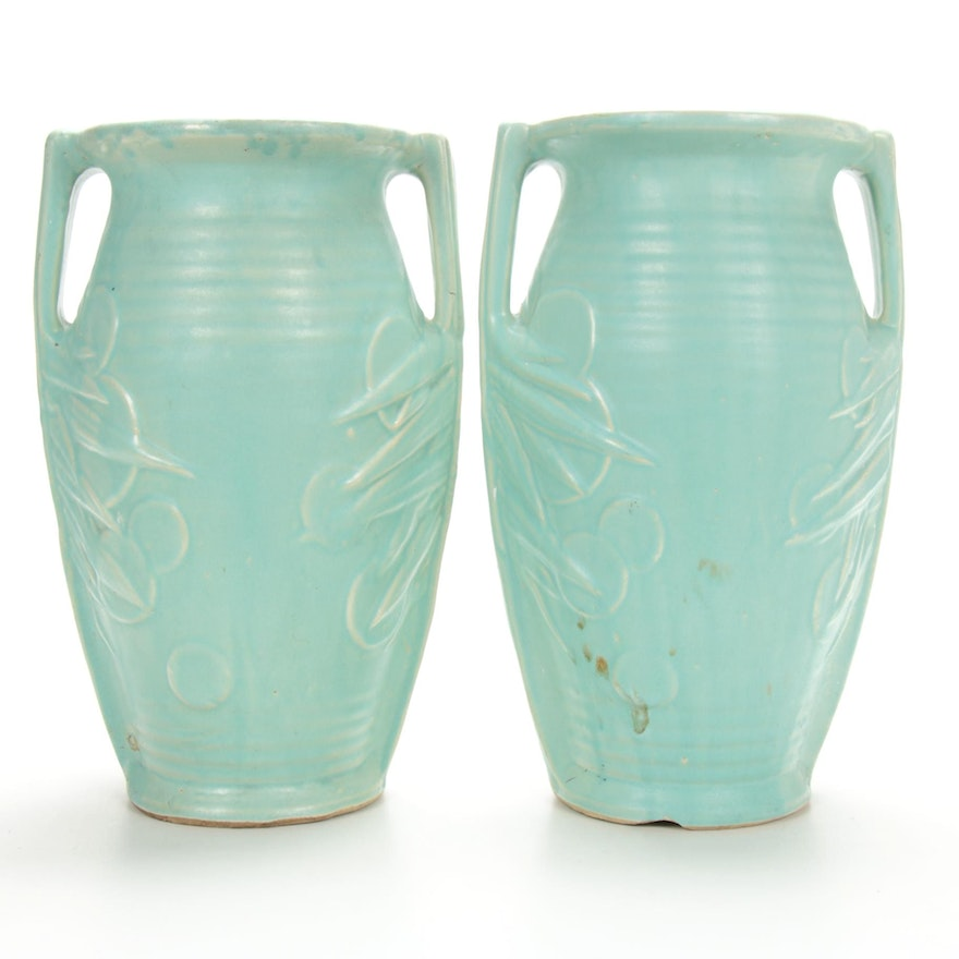 Roseville Style Earthenware Vases, Early to Mid 20th Century