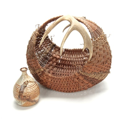 Handwoven Antler-Handled Basket with Dublin Pottery Vase