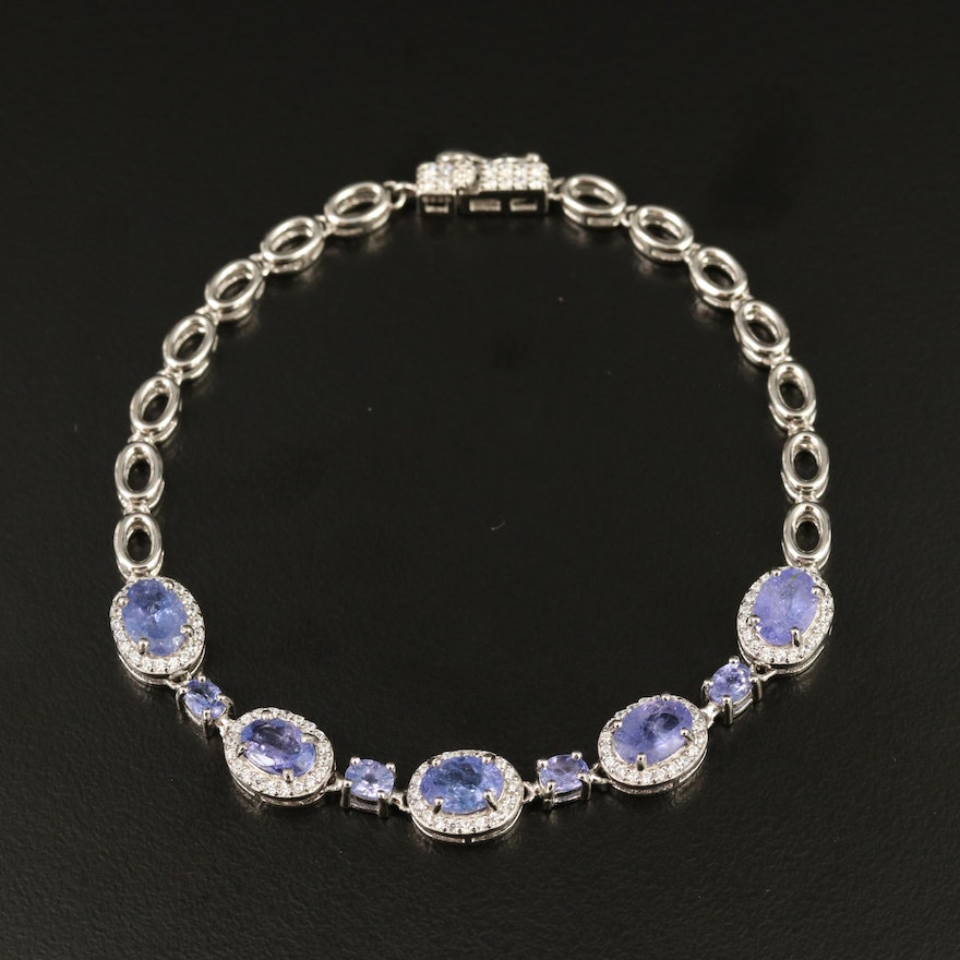 Sterling Silver Tanzanite and Cubic Zirconia Bracelet