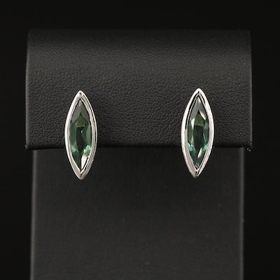 Sterling Silver Quartz Navette Stud Earrings