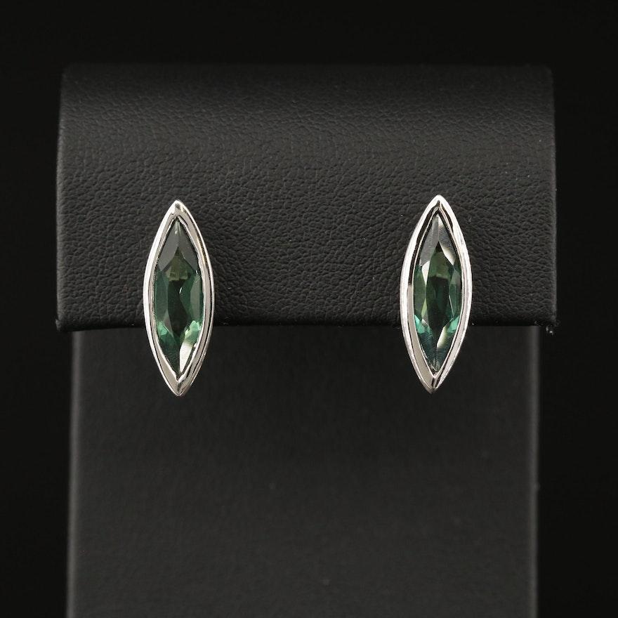 Sterling Silver Quartz Navette Stud Earrings