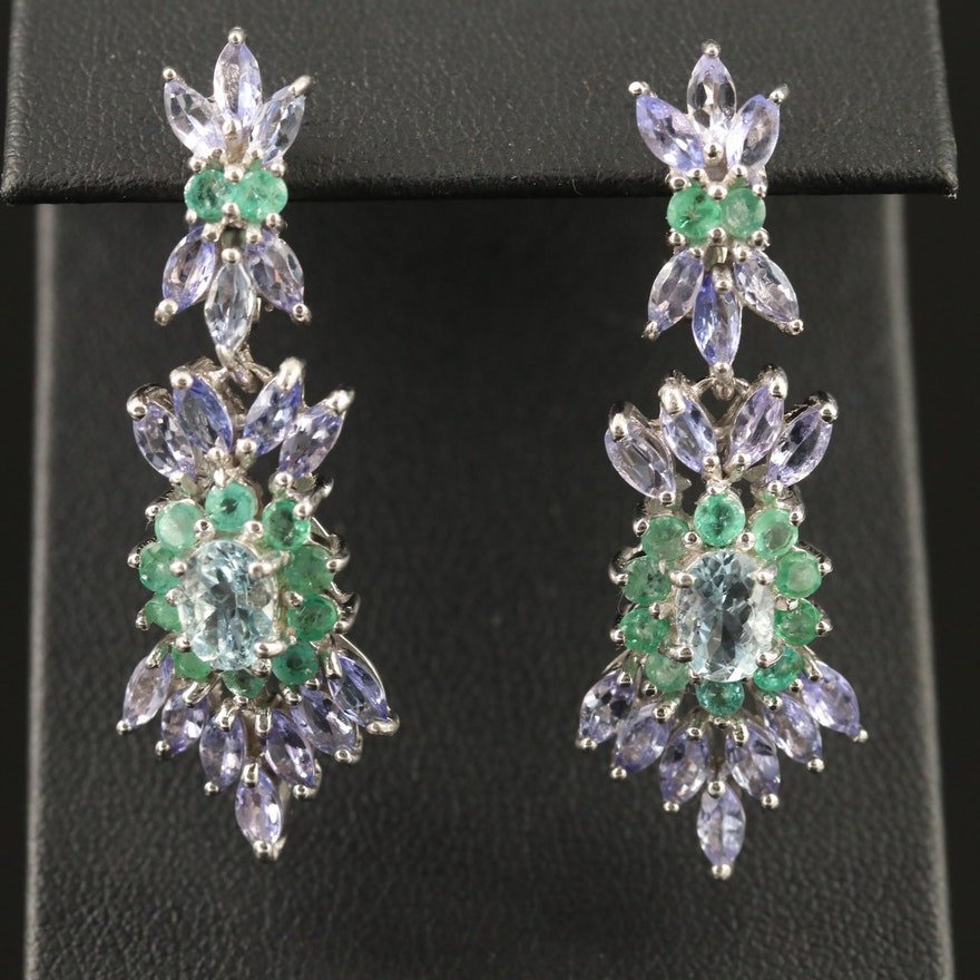 Sterling Silver Aquamarine, Tanzanite and Emerald Cluster Earrings