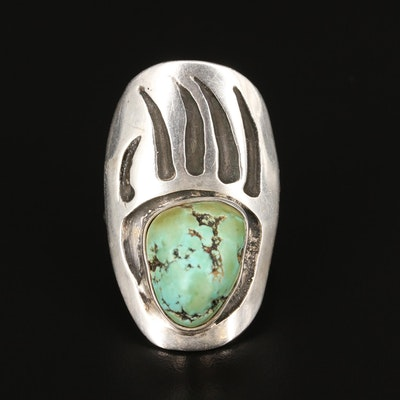 Artist Signed Southwestern Style Sterling Silver Turquoise Bear Paw Print Ring