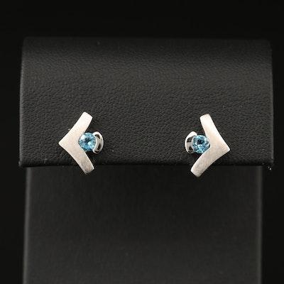 Sterling Silver Topaz Stud Earrings with Arrow Design