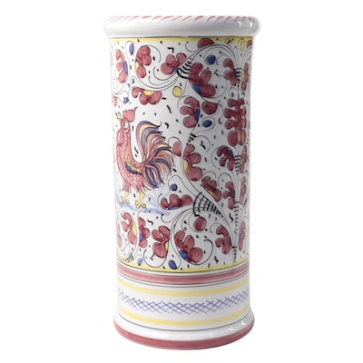 Sberna Italian Ceramic Umbrella Stand with with Rooster and Floral Motif
