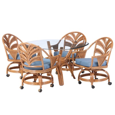 Rattan Dining Set, Late 20th Century
