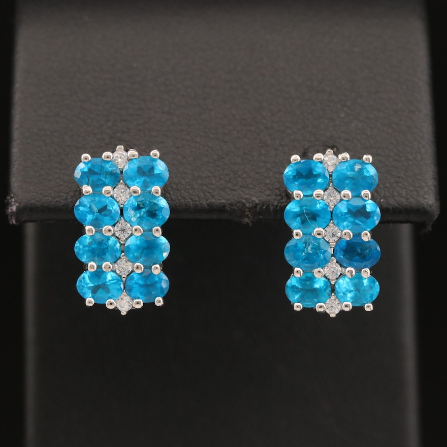 Sterling Silver Apatite and Glass Earrings