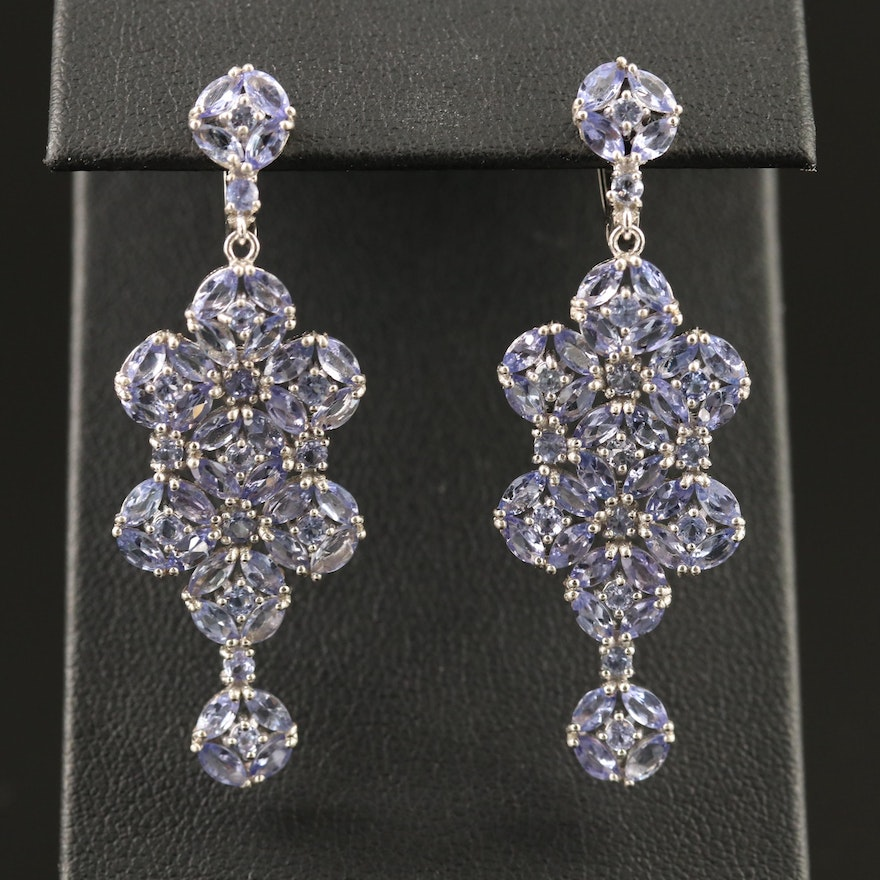 Sterling Silver Tanzanite Cluster Dangle Earrings