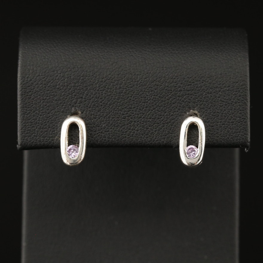 Cubic Zirconia Stud Earrings with Sterling Clutch Backs