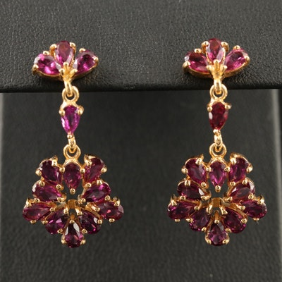 Sterling Silver Garnet Cluster Dangle Earrings