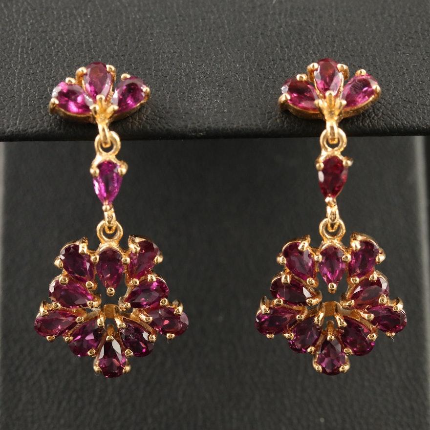 Sterling Silver Garnet Cluster Dangle Earrings