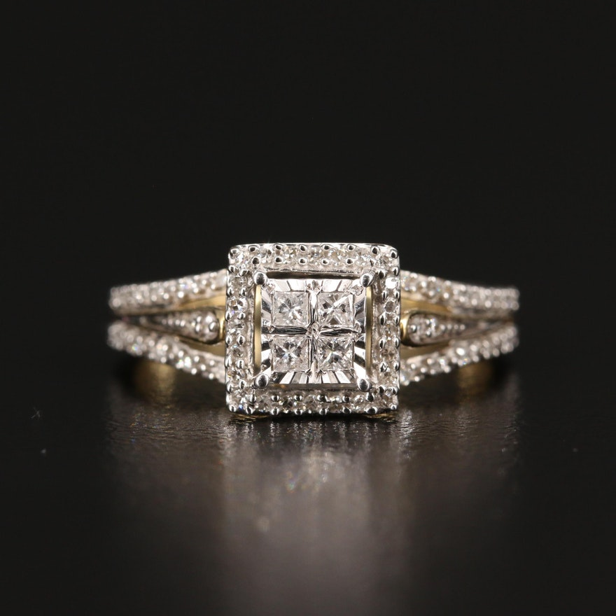 10K Split Shoulder Diamond Ring