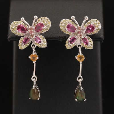Sterling Silver Garnet, Sapphire and Opal Butterfly Dangle Earrings