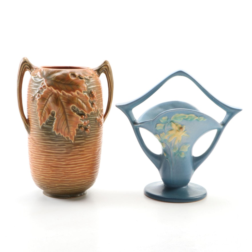 "Roseville Pottery ""Bushberry"" and ""Columbine Basket"" Vases, Mid-20th Century"