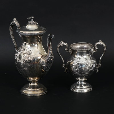 Silver Plate Bright Work Coffee Pot  and Sugar Urn, Early 20th Century
