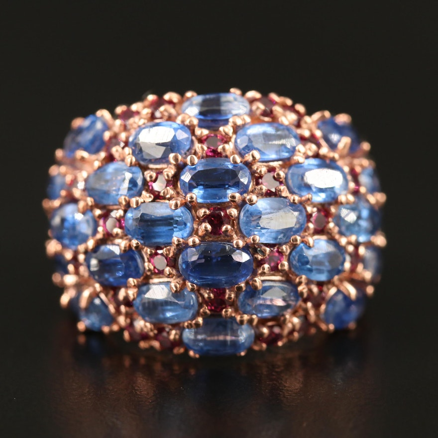 Sterling Silver Kyanite and Garnet Dome Ring