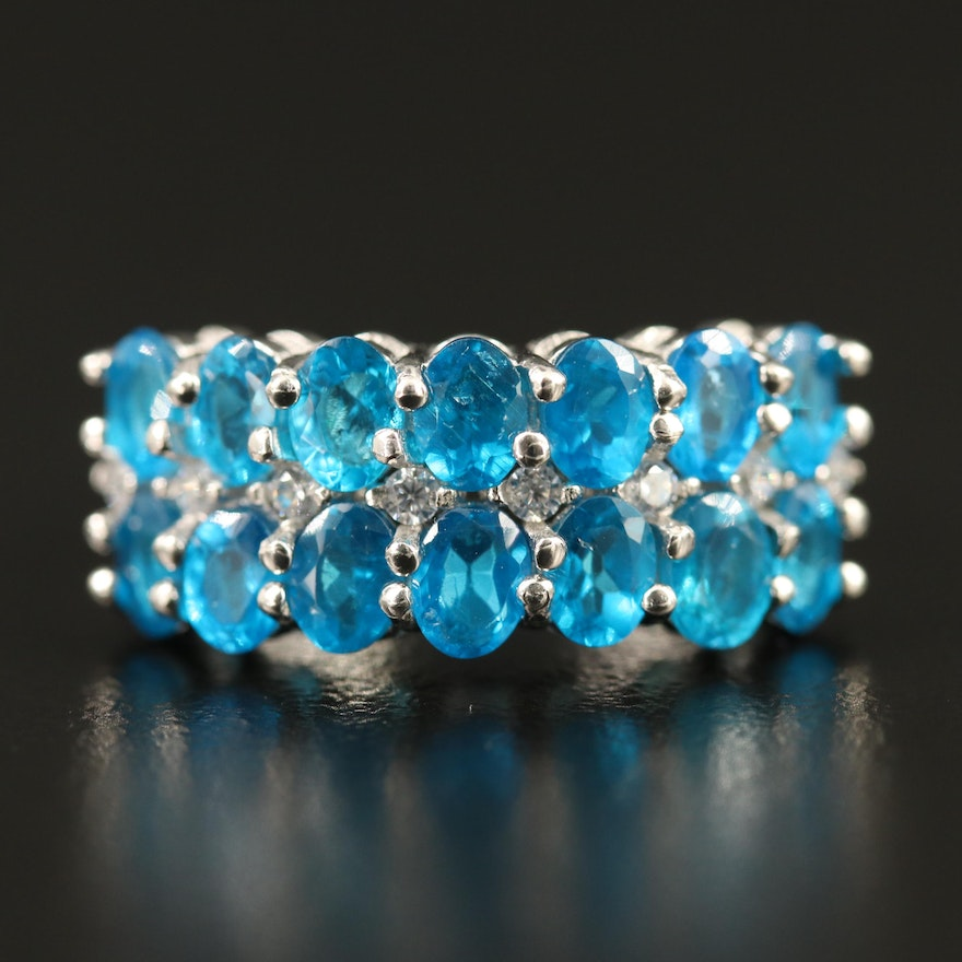 Sterling Apatite and Cubic Zirconia Ring