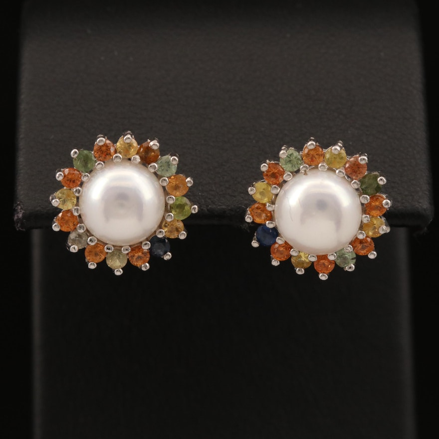 Sterling Silver Pearl and Sapphire Stud Earrings