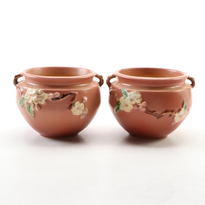 "Roseville Pottery Pink ""Apple Blossom"" Small Jardinières"
