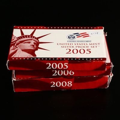 Three U.S. Mint Silver Proof Sets, 2005 to 2008