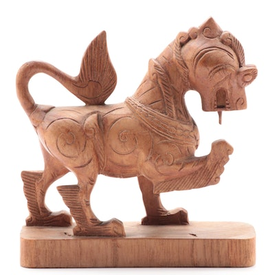 Sino-Tibetan Style Carved Teak Guardian Lion