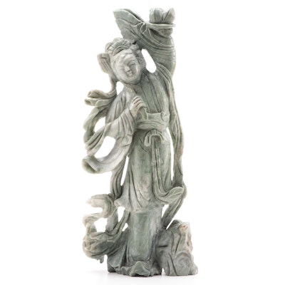 Chinese Carved Stone Guan Yin Figurine