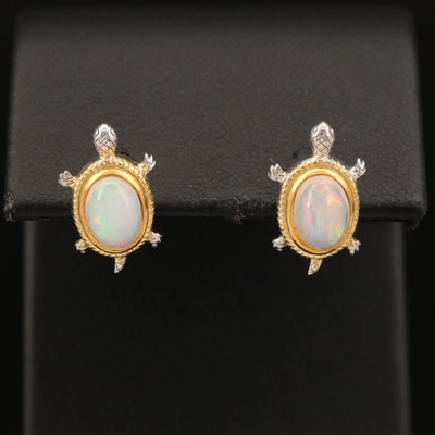 Sterling Opal Turtle Stud Earrings