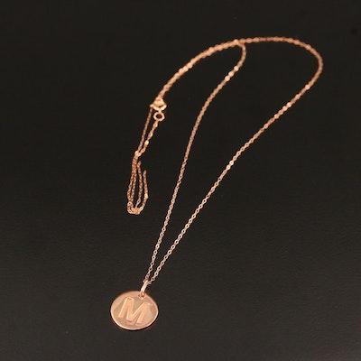 """14K Rose Gold """"M"""" Disk Pendant Necklace"""