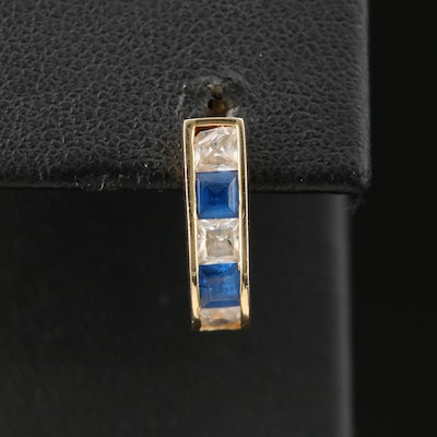 14K Yellow Gold Cubic Zirconia and Synthetic Sapphire Single J Hoop Earring