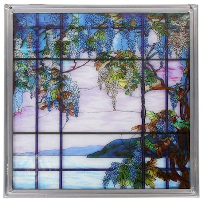"MoMA Stained Glass Sun Catcher After Louis Comfort Tiffany ""Oyster Bay"""