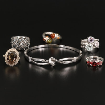 Sterling Silver Jewelry Including Diamond, Smokey Quartz and Garnet