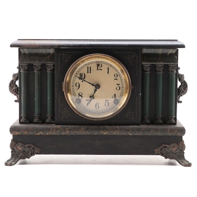 Sessions Clock Co. Lacquered Wood Pilaster Mantel Clock, Late 19th Century